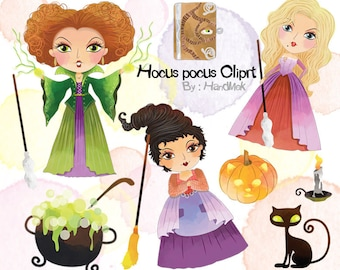 Hocus Pocus characters clipart: instant download, PNG file - 300 dpi