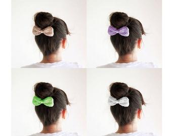SALE, Three crochet hair bows, Pick your color, Beige, White, Lilac, Blue, Mint, Cute hain bun bow, Girls hair bows, Discount gift for girls