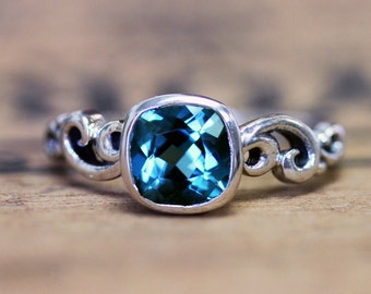 London blue topaz engagement ring, December birthstone, ocean engagement ring, recycled sterling silver, custom made, water dream ring