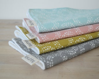 Organic Burp Cloths Set of 4 in Circles - Gray, Blue, Pink, and Reed