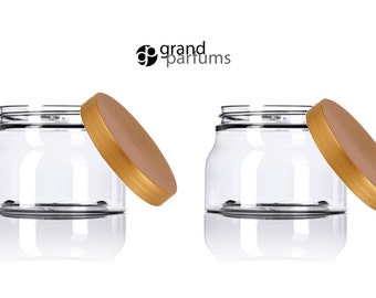 12 Italian Style CLEAR 8 Oz Pet Plastic TUSCANY Jars 240ml w/ Smooth Copper Caps Body Butter, Sugar Scrubs, Bath Salt, Creams, Masks 240 ml