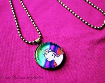 """Rainbow Pink Unicorn 1"""" Pendant Necklace - or 2 for 20 - Happy Magic Fluffy - ReLove Plan.et"""