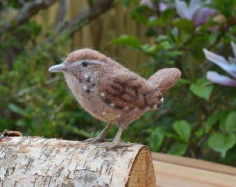 Needle felted Wren bird sculpture