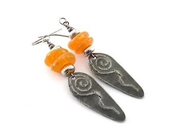 Handmade Earrings, Dagger Earrings, Orange Earrings, Gunmetal Earrings, Tribal Earrings, Artisan Earrings, Boho Earrings, Pewter, AE080