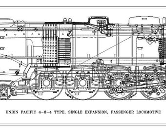 Union Pacific 4-8-4 Type Locomotive Drawing - Side View