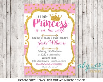 Little Princess Baby Shower Invitation, Pink & Gold Glitter  Edit yourself with Adobe Reader