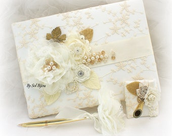 Ivory and Gold Wedding Guest Book Lace Signature Book and Pen Set Vintage Elegant Style