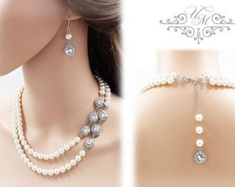 Wedding Necklace Double Strands Swarovski Pearl Necklace Rhinestone Necklace Bridal Necklace Bridal Jewelry Bridesmaids Necklace - ORLA