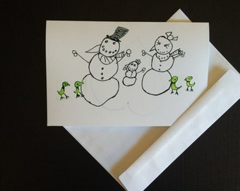 Snow family with Green Birds (10 cards & envelopes)