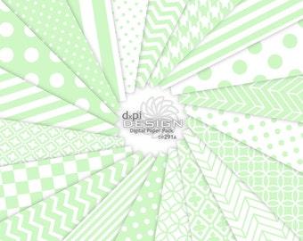 SPRING MINT - Digital Paper & Printable Background Designs - Pastel Mint Green Chevron, Stripe, Polka Dot - Instant Download (DP291A)