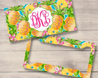 Pineapple Personalized Car Tag, Lilly Inspired Monogram License Plate, Custom Cute Car Accessories, Sweet 16 Birthday Gift (0001)