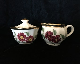 Wade England Tea Set Creamer Sugar with Lid Gold Trim Hand-painted Red Posies on Cream background