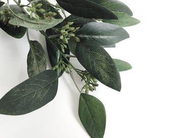 Seeded eucalyptus, faux, eucalyptus spray, eucalyptus leaves, Silver dollar eucalyptus, faux seed eucalyptus, artificial eucalyptus,