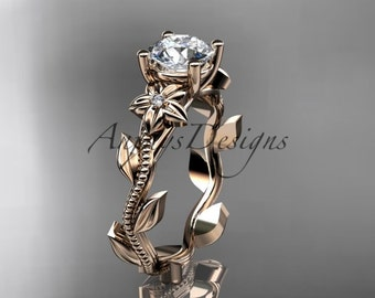 Floral rings, Unique 14kt  rose gold diamond floral wedding ring, engagement ring ADLR238