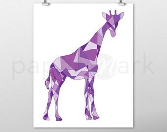 Giraffe Print, Giraffe Wall Art, Wall Decor, Giraffe Decor, Nursery Decor, Nursery Print, Nursery Art, Baby Shower, Purple Giraffe