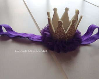 PURPLE AND GOLD Crown Headband, Crown Headband, Birthday Crown, Smash Cake Headband, Purple Crown Headband, Princess Crown, 1st Birthday