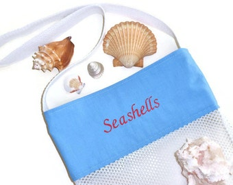 Beachcomber Sea Shell Collecting Bag, Shell Tote, Embroidered Blue Mesh Beach Bag, Cross Body Bag, Gift for Men or Women