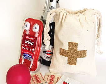Hangover kits bags - Glitter cross - Hangover kits - Drawsring bag