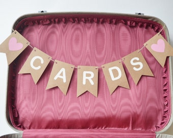 Wedding Cards Bunting Sign, Party Decoration,Card Table, Rustic Bunting