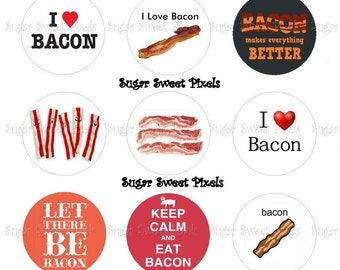 INSTANT DOWNLOAD I Love Bacon Inspired Digital 1 inch circle Bottlecap Images 2 4x6 sheets