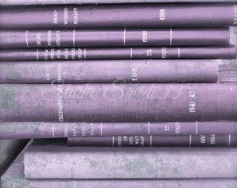 """Book Photography, Old Book Art, Lavender Shabby Cottage Chic Art, Rustic Purple Antique Book Art, Library Office Print- """"Lavender Library"""""""
