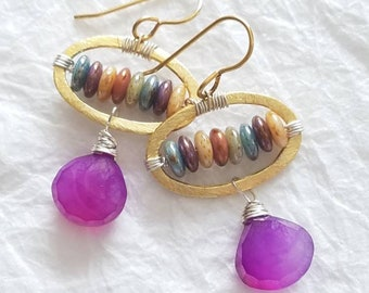Purple Mystic Chalcedony Picasso Czech Rondelles Gold Plated Oval Contemporary Design Wild Indigo Earrings