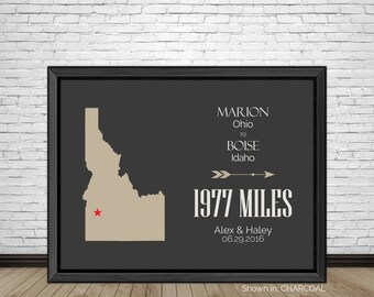 Custom Travel, Home Relocation, Relocating, Cross Country Moving, Out of State, Getaway Travel, Gifts for Couples, Newlywed Gifts, Art Print