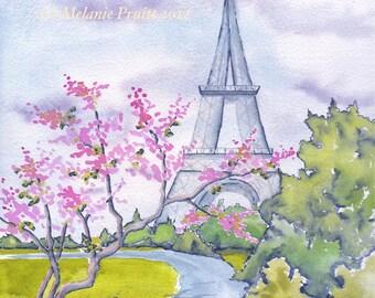 11x14 Spring in Paris France Eiffel Tower ORIGINAL watercolor print by Melanie Pruitt