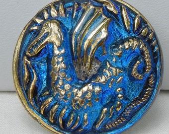 Large Dragon Czech Glass Button