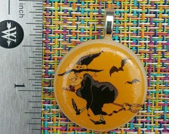 Fused Glass Jewelry Pendant - Halloween Jewelry - Halloween Witch Pendant - Glass Enamel Decal - Bats - Orange Jewelry - White Glass