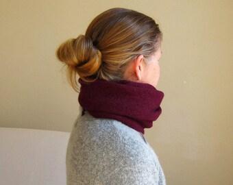 infinity scarf wrap cowl snood knit in wine alpaca