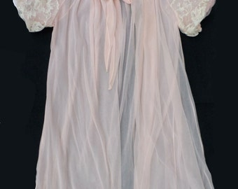 Vintage Sheer Avian Penoir  Robe S/M