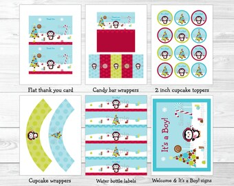 Winter Wonderland Penguin Baby Shower Party Package INSTANT DOWNLOAD A257
