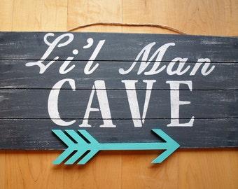 Lil Man Cave Wood Sign Tribal 3D Arrow Nursery Boys Decor Nursery Wall Decor Dark Gray / Turquoise / Black Nursery Baby Gift Distressed Wood