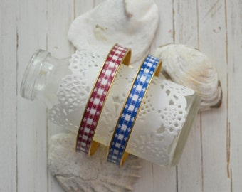 Women's Preppy Bangle Bracelet - Red Picnic & Blue Picnic