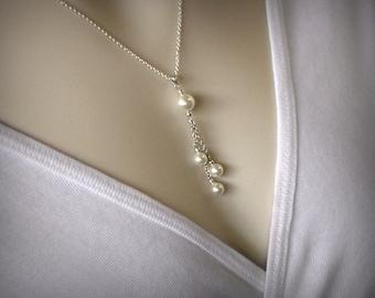 Pearl Necklace, Y Necklace, Pearl Pendant, Silver Lariat Necklace, Tassel Necklace, Silver Necklace, Silver Y Necklace, Y, Pearl Jewelry