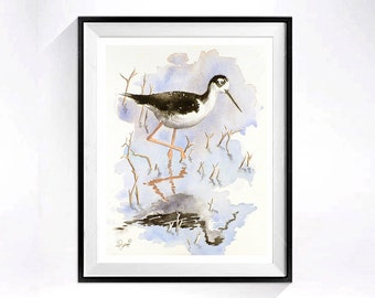 Wetlands Landscape Art / Watercolor Print / Nature landscape / Wildlife painting / Bird illustration /  black white / 8 x 10 L
