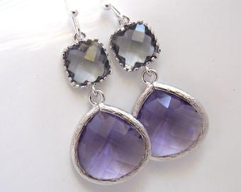 Purple Earrings, Gray Earrings, Grey, Amethyst, Glass, Silver, Bridesmaid Jewelry, Bridesmaid Earrings, Bridal Jewelry, Bridesmaid Gifts