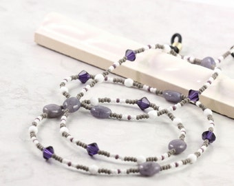 Gray Eyeglass Holder White Eyeglass Leash Gemstone Eyeglass Chain Crystal Purple Eyeglass Lanyard Sunglass Lanyard Lavender Beaded Lanyard