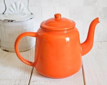 Mid Century Orange Enamel Kettle || French Vintage Coffee Pot or Teapot - Retro Home Decor