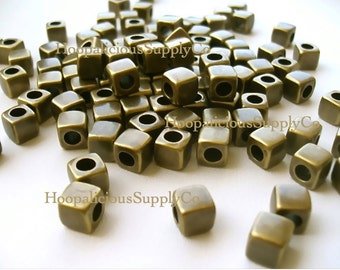 25 Cubed Spacer Beads -BRASS Colored Acrylic- Popular with Hoop Trend- Great for Jewelry Making