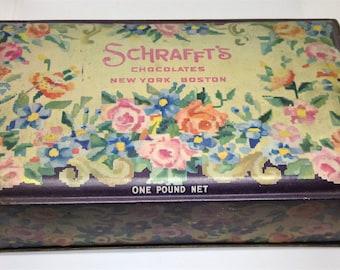 Vintage Black Pink Rose Tin, Schrafts Embroidery Tin, Schrafts Advertising Chocolates Tin, Trinket Tin, Shabby Chic Tin, Jewelry Box