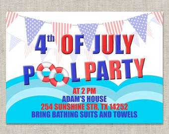 4 July Pool Party Invitation, 4th July Party Invitations, Pool Party Invite, Independence Day Party Invitation, Kids Adult Birthday Invites
