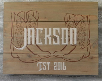 Rustic Family Name Signs -  Cowboy Boots Decor - Family Name Established Sign - Personalized Rustic Wood Signs - Western Home Decor