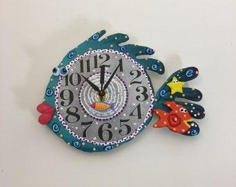 Kids Clock,Clock, Blowfish Clock, Unique wall Clock,Under the Sea, Ocean, Under water fish room decor, Ocean decor