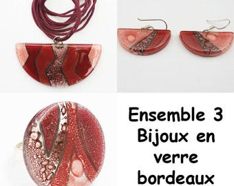 Burgundy glass matching jewelry set