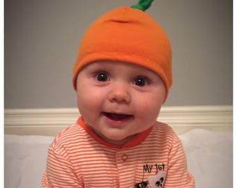 Pumpkin top knot baby hat, knit cotton halloween cap, hospital