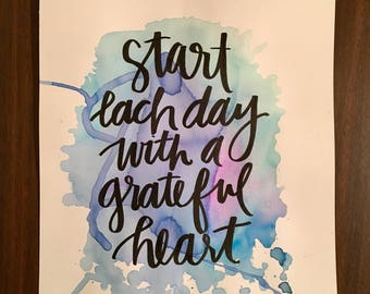 Start Each Day with a Grateful Heart Watercolor Painting
