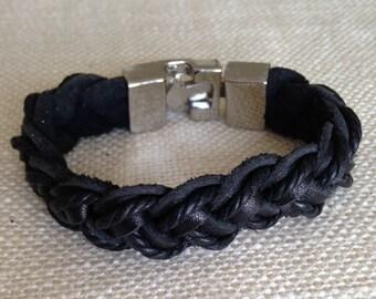 Men's Gift, Stainless Steel and Braided Leather Bracelet, Men's Bracelets.