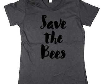 Bees shirt - Womens Bees Shirt - Save the Bees - bumble bee, honey bee, womens, ladies, Moss, Brown, Navy, Small, Medium, Large, XL, 2XL